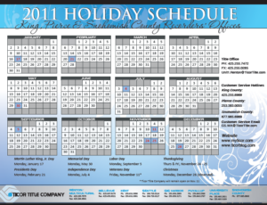 Recorders office holiday schedule King Pierce Snohomish County