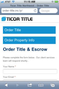 Title Insurance and Escrow Order Form Optimized for Mobile Devices