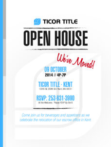 Ticor Title Kent, WA Open House invitation