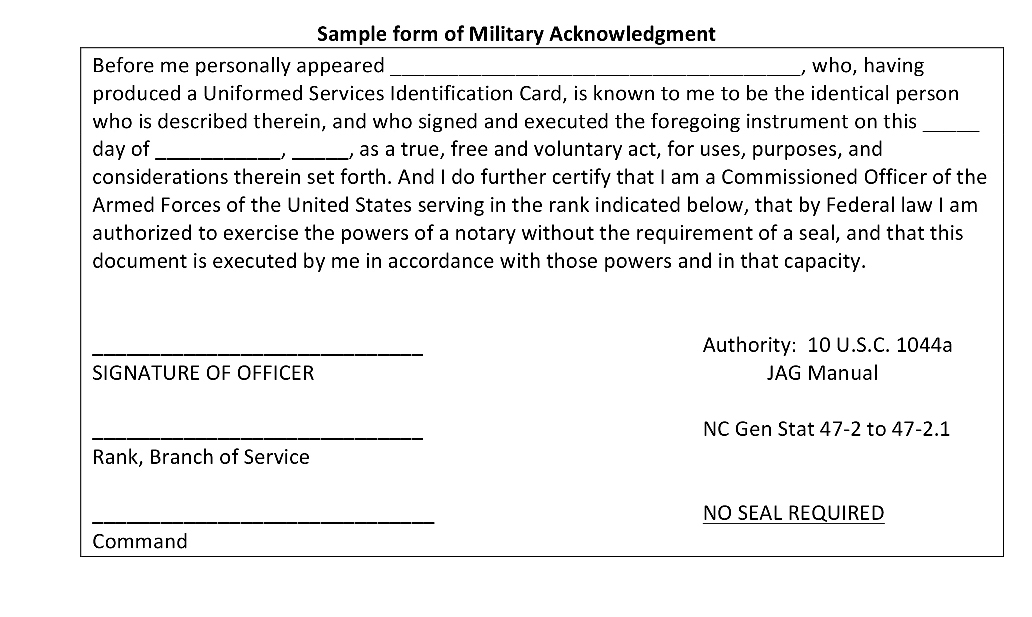 Sample form of Military Acknowledgement